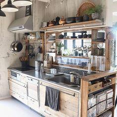 Kitchen / show storage / remake kitchen / scaffolding board / remodeling kitchen / DIY . and other interior Home Kitchens, Kitchen Remodel, Kitchen Design, Kitchen Decor, Modern Kitchen, Small Kitchen, Kitchen, Kitchen Interior, Diy Kitchen
