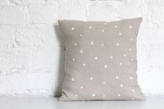 Hand Printed Linen Cushion Cover.. dots!