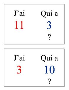 Le cercle magique - French numbers game with cards that you can fold in half and laminate.