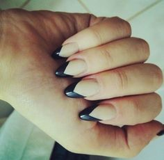 Black Angle Tip Stiletto Nails. Try Pommette's Artistic Colour Gloss for your perfect Kelowna Gel nail manicure. Gorgeous Nails, Love Nails, How To Do Nails, Fun Nails, Perfect Nails, French Nails, French Polish, Nagel Hacks, Look 2015