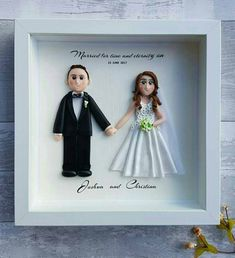 Excited to share the latest addition to my #etsy shop: POLYMER CLAY ART Custom wedding gifts for the couple, bride and groom portrait wedding gift ideas wedding frame Mr and Mrs Valentines gift https://etsy.me/2JlW2hg