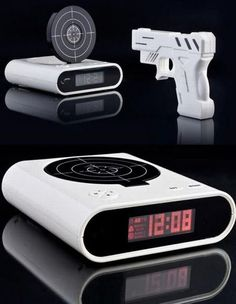 When the alarm clock goes off, the target pops up, and to turn off your alarm you must shoot the target.