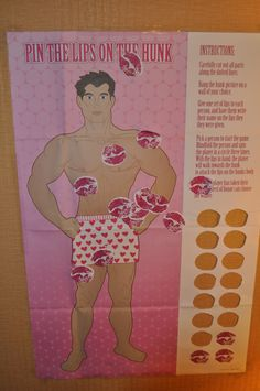 """Pin the lips on the hunk"" Bachelorette Party games."