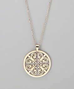 Rose Gold Round Pendant Necklace by Treasure Hunt: Rose Gold Jewelry (zulily.com) #GoldJewelry #GoldJewelleryNecklace