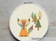 Cross stitch pattern fox in the forest, geometric pattern, modern cross stitch, woodland,  PDF ** instant download**