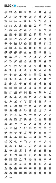 372 Block style vector icons