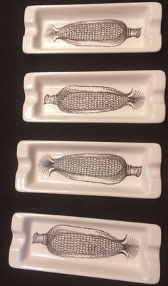 SET 4 ORIGINAL JSC DESIGN CORN ON THE COB PLATES -RARE VINTAGE -