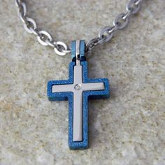 Blue Sandblast Cross 3 in 1 Stainless Steel by WireNWhimsy on Etsy