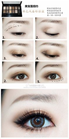 Eye Makeup Tips and Advice Eyes occupy the most prominent place among the five sensory organs of our body. Large and beautiful eyes enhance one's beauty manifold. Use eye-make up v Korean Makeup Tips, Asian Eye Makeup, Korean Makeup Tutorials, Ulzzang Makeup Tutorial, Korean Beauty, Asian Beauty, Asian Makeup Techniques, Kawaii Makeup Tutorial, Makeup Korean Style