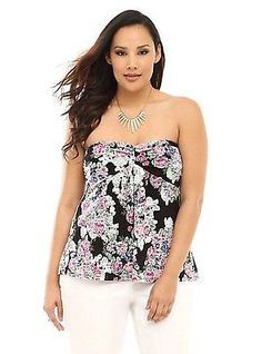 New Torrid PinUp Black & Pastel Floral Lace Overlay Baby Doll Top Plus Size 3x