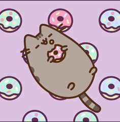 Pusheen I love donuts Nyan Cat, Cat Wallpaper, Kawaii Wallpaper, Kawaii Drawings, Cute Drawings, Pusheen Stickers, Pusheen Stormy, Pusheen Love, 4 Panel Life