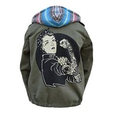 Juniors We Can Do It by Adi Rosie the Riviter Army Green Jacket Coat Rosie The Riviter, Rebel, Green Utility Jacket, Green Jacket, Tattoo Clothing, Tattoo T Shirts, Tattoos, Army Green, What To Wear
