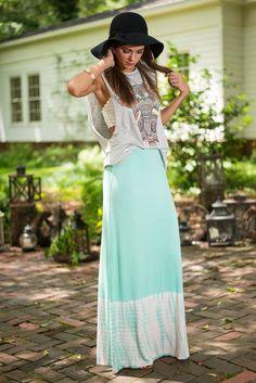 Take A Dip Maxi Skirt, Mint #maxiskirt #tiedye