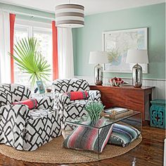 Pattern Play Sitting Room - Bright and Colorful Rooms - Coastal Living Mobile