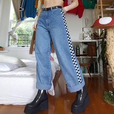 Loose Fitting Color Matching Black And White Plaid Print Trousers – keyfancy Painted Jeans, Painted Clothes, Retro Outfits, Cool Outfits, Fashion Outfits, Ootd Fashion, Aesthetic Fashion, Aesthetic Clothes, Custom Clothes