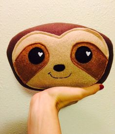 sloth plush stuffed animal cute pillow face plushie etsy for sale happy smile soft sweet baby gift present christmas hearts love funny sweet Animal Heads, Animal Faces, Chibi, Handmade Stuffed Animals, Felt Pillow, Fancy Dress For Kids, Christmas Hearts, Baby Sloth, Boyfriend Gifts