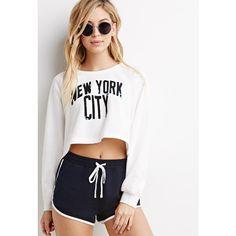 Forever 21 New York City Raglan Sweatshirt ($23) ❤ liked on Polyvore featuring tops, hoodies, sweatshirts, cropped sweatshirt, pink sweatshirt, sweatshirts hoodies, long sleeve sweatshirt and long sleeve crop top