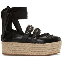 Miu Miu Black Double Buckle Ballerina Platform Espadrilles ($530) ❤ liked on Polyvore featuring shoes, sandals, black, black braided sandals, strappy sandals, leather strap sandals, black ballet shoes and strap sandals