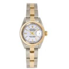 Refurbished Pre-owned Rolex Ladies 26MM Datejust Stainless Steel & 18K Gold Oyster Braclet, Gold Fluted Bezel & A Index Dial