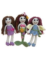 Girlie Girl Trio Crochet Pattern Download from AnniesCatalog.com. A quick & easy crochet pattern that includes three designs: Farah Fairy, Dinah Diva and Myra Mermaid.