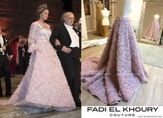 'Princess Madeleine of Sweden was one of the representatives of royal family who attended the Nobel Prize Banquet held at City Hall. Princess Madeleine wore a specially designed pink rose patterned dress by Swedish designer Fadi el Khoury who is of Lebanese origin. There are photos relating to the preparation stages of this dress.'