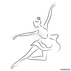 Abstract dancer line art illustration; beautiful movement performance dancing - Buy this stock illustration and explore similar illustrations at Adobe Stock Ballerina Drawing, Ballet Drawings, Pencil Art Drawings, Face Line Drawing, Angel Drawing, Art And Illustration, Illustrations, Line Art, Art Graf