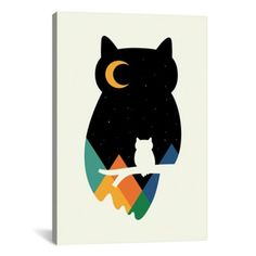 Harriet Bee 'Eye on Owl' Graphic Art Print on Wrapped Canvas Size: Owl Canvas, Canvas Wall Art, Canvas Prints, Art Prints, Gouache, Owl Graphic, Graphic Design, Owl Eyes, Owl Print