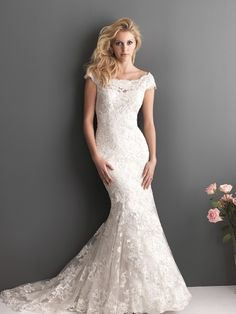 Don't forget that while you were fantasizing about your wedding day, your fiancé has been dreaming of his bride-to-be! We think an Allure Romance.The post All Eyes on You in an Allure Romance Wedding Dress appeared first on MODwedding. Cute Wedding Dress, Applique Wedding Dress, 2015 Wedding Dresses, Lace Mermaid Wedding Dress, Colored Wedding Dresses, Wedding Dress Styles, Bridal Dresses, Wedding Gowns, Lace Wedding