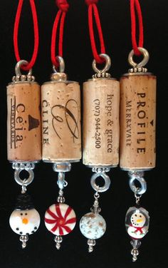 Authentic Wine Cork Ornament Snowman Collectible Gift Bottle Hanger