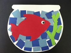Mosaic lesson/use tissue for the H2o/crepe paper for the seaweed