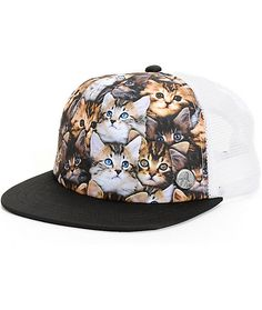 Add some ultra cute flavor to your life with this lightweight trucker hat that features a sublimated kitten print over the padded front panels finished with an A-Lab metal emblem.