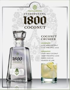 Coconut Crusher w/ pineapple juice and 1800 coconut tequila ~ trying this tonight ;)