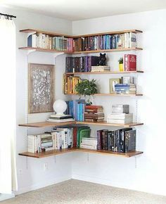 Such a cool idea for extra books and artwork, you could even put a corner dresser underneath and use the drawers for extra things.