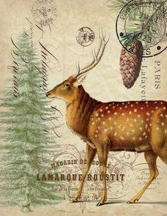 Paper Christmas Deer Print