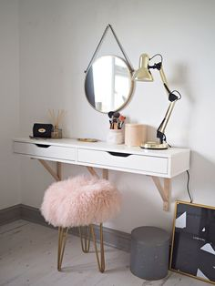 Scandinavian Dressing Table Featuring The Perfect Mongolian Sheepskin Stool