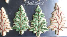 CookieCrazie: Christmas Tree Cookie Platter (Tutorial) natural branch look Christmas Tree Cookies, Cute Cookies, Holiday Cookies, Cupcake Cookies, Sugar Cookies, Cupcakes, Christmas Brunch, Christmas Goodies, Christmas Baking