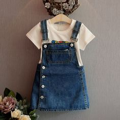 Summer Style Girls Straps dress cute denim Kids Sundress For Girl Party Dresses Child Party Birthday clothes, Party Style , Little Girl Outfits, Girls Party Dress, Toddler Girl Outfits, Baby Outfits, Little Girl Dresses, Kids Outfits, Girls Dresses, Party Dresses, Girls Denim Dress