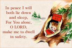 For You alone O LORD make me to dwell in safety free Christian message card copy