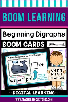 THIS IS AN INTERACTIVE DIGITAL RESOURCE. Download the preview to play a shortened version of the Boom Deck – this will help you decide if the resource is suitable for your students. ABOUT THIS BOOM DECK: This card deck covers the 7 beginning digraphs. Students look at the picture and drag the correct beginning digraph into the blank box, to complete the word.