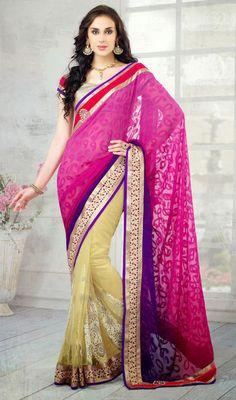 Purple, Magenta and Cream Jacquard Net Half N Half Saree Price: Usa Dollar $108, British UK Pound £64, Euro80, Canada CA$117 , Indian Rs5832.