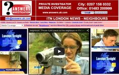 """ITN News follow Private #Investigators who check out the #neighbours for house buyers:- http://www.answers.uk.com/admin/ITNLondonnews.html T:020 7158 0332  A feature on our """"Neighbours"""" service filmed by ITN London News http://www.answers.uk.com T:020 7158 0332"""