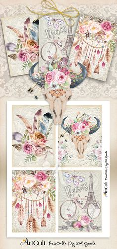Printable BOHO CHIC No3 greeting cards downloadable art Digital Collage Sheet shabby flowers feathers bull skull scrapbooking paper ArtCult