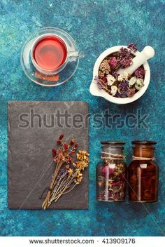 Dried herbs and herbal tea. concept herbal medicine.