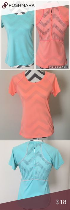 2 For 1 Deal! RBX Workout Women's Tops Two for the price of one RBX workout shirts! One blue, and one pink with unique designs on back. Both in size small. Excellent condition! RBX Tops Tees - Short Sleeve