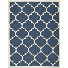 @Overstock.com - Safavieh Indoor/ Outdoor Courtyard Navy/ Beige Rug (9' x 12') - Brighten up any space with this indoor/outdoor area rug from Safavieh's Courtyard Collection. The geometric pattern in navy and white has a contemporary feel, and a durable polypropylene construction ensures that this rug will last for years.  http://www.overstock.com/Home-Garden/Safavieh-Indoor-Outdoor-Courtyard-Navy-Beige-Rug-9-x-12/8059829/product.html?CID=214117 $257.99