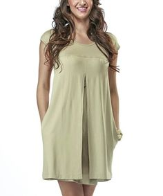 Take a look at this Camel Maternity & Nursing Cap-Sleeve Dress - Women by Milk Diary on #zulily today!