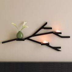 Twig-shaped wall shelves