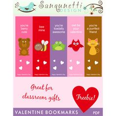 valentine bookmarks - printable - write on back, laminate, tie ribbon at top