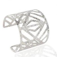 Gamiss - Gamiss Geometric Ripple Hollow Out Cuff Bracelet - AdoreWe.com