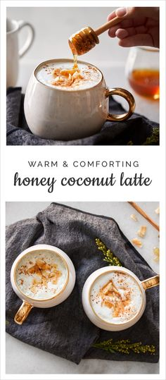 Coconut Latte Naturally sweet with a tropical touch. Try out this Honey Coconut Latte Recipe.Naturally sweet with a tropical touch. Try out this Honey Coconut Latte Recipe. Yummy Drinks, Healthy Drinks, Yummy Food, Healthy Recipes, Simple Recipes, Delicious Recipes, Tea Recipes, Coffee Recipes, Cooking Recipes